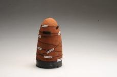 Bobbin III - ceramic, earth pigments, oxide, leather, leather cord. 2016. 40 x 20 x 20 cm