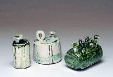 Little Machine IV (11.5 x 6 x 7 cm), Little Machine I (11 x 8.5 x 9 cm), Little Stitch I (9 x 7 x 12 cm) - ceramic, slip, oxides. 2018